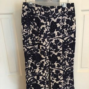 Loft Navy and White Print Pants